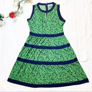 Michael Kors Green Leaf Print Dress Navy Trim L
